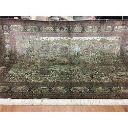500 Lines 5'x8' Handknotted Silk Area Rug Scenery Living Room Tapestry LS022