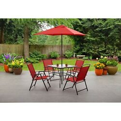 6-Piece Outdoor Dining Set Red Table Folding Chairs Umbrella Garden Furniture