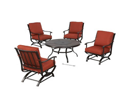 Outdoor Patio Furniture 5-Piece Steel Fire Pit DiningSeating Set Quarry Red