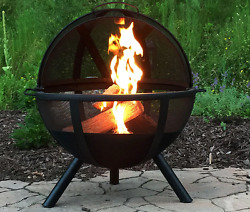 Modern Outdoor Fireplace Portable Wood Burning Outdoor Round Metal Mesh Cover
