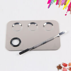 Stainless Steel Nail Art Makeup Cosmetic Mixing Palette With Spatula tool