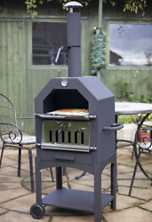 Outdoor Smoker Grill 3-in-1 Pizza Oven Barbecue Wood Burning BBQ Patio New