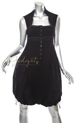 High Use Italy CLAIRE CAMPBELL Black Wool Cotton Sleeveless Bubble Dress Size 4