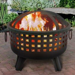 Fire Pit Outdoor Patio Backyard Fireplace Black Metal Safety Screen Wood Burning