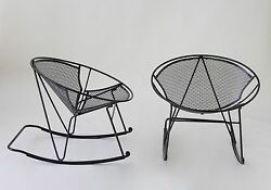Maurizio Tempestini John Salterini Patio Rocking Chairs Wrought Iron Mid Century