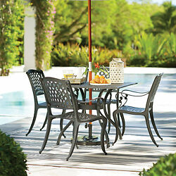 Patio Outdoor 5 Piece Dining Set 4 Chairs Table Metial Cast Aluminum Design