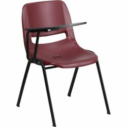 Burgundy Ergonomic Shell Chair with Right Handed Flip-Up Tablet Arm FLARUTEO1BYR