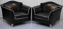PAIR OF RRP £18000 CAVALLI NELLA VERTRINA AVALON LEATHER CONTEMPORARY ARMCHAIRS