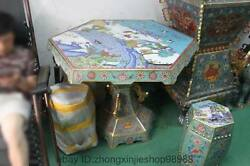 Chinese Royal 100% Bronze cloisonne Dragon crane Table with Four stool seat Set