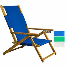 APEX LIVING Patio Portable Wooden Beach Folding Chair Adjustable Chaise Lounge