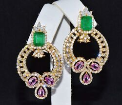 Certified Natural 11.8Cts VS F Diamond Emerald Sapphire 18K Gold 2-in-1 Earrings