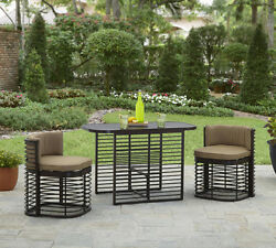 Bistro Table and Chairs Set 3 Piece Patio Small Space Compact Garden Outdoor