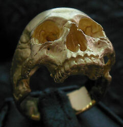 Into The Fire Jewelry - Half Jaw Skull Ring 18kt rose or yellow gold skull 36 gm