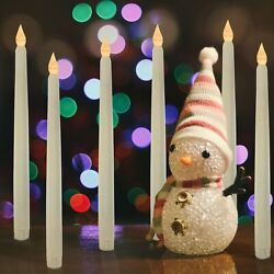 6pcs Flameless Battery Operated LED Tapered Candle 0.5quot; x 11quot; Ivory White Tall $14.99