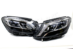 LED Headlights With Bend Lights PAIR Fits Mercedes S Class W222 2013- OEM