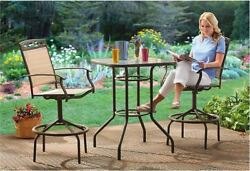 Outdoor Patio Bistro Table Chairs Set 3 Piece Bar Height Pool Garden Furniture
