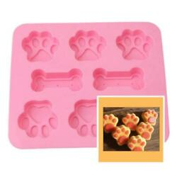 Silicone Pet Dog Bone & Paw Soap Mold Candy Chocolate Fondant Tray ICE Cube DIY