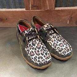 Twisted X Women#x27;s Distressed Leopard Bomber Leather Driving Moccasin WDM0057 $99.99