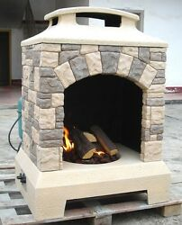 New 2017 Tuscan Stone Style Outdoor Backyard Fireplace Gas Fire Pit w Fire Logs