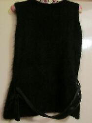 Black Angora Monsoon Sleeveless Jumper  Top in Size 10 - Button up Back