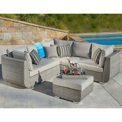 Patio Furniture Set 4 Piece Outdoor Wicker Sectional Ottoman Modular Love Seat