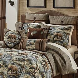 Brown Bear Cabin Themed Comforter King Set Hunting Lodge Bedding Forest Woods