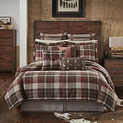 Brown Tan Red Plaid Comforter California King Set Cabin Themed Bedding Ivory