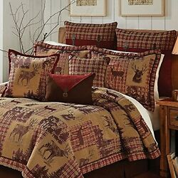 Tan Brown Gold Red Cabin Themed Comforter Queen Set Hunting Lodge Bedding Deer