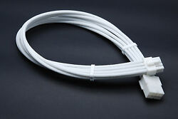 8 Pin Pcie Full White GPU Sleeved Power Supply Extension Cable 2 Comb Shakmods GBP 8.99