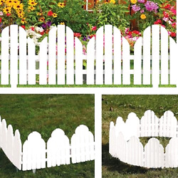 Garden Borders Set of 4 Adirondack Style White 22 x 8 3.5 Inches Yard Lawn
