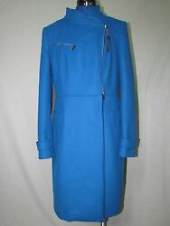 NEW NWT ITALIAN MADE WOOL CASHMERE BLEND WINTER COAT SIZE 4610 AZURE BLUE