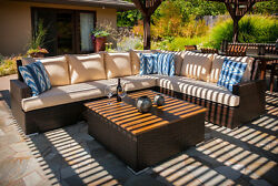 Newport Deep Seating Outdoor Patio Sectional with Coffee Table