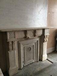 1880's White Marble Mantle Fireplace Surround (17Q)