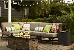 5 Piece Patio Furniture SET Garden Lawn w Tan Cushions Outdoor NEW Dining NEW