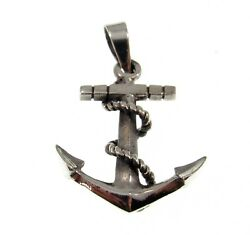 Handcrafted Solid 925 Sterling Silver 3D Nautical Boat Anchor And Rope Pendant  $18.95