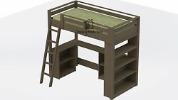 TWIN Loft Bed with DESK and BOOKCASE  EASY Woodworking Design Plans 01