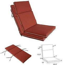 Red High Back Patio Cushion Set Outdoor Garden Dining Chair Summer Furniture 2PC