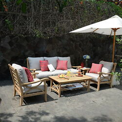 New 5 Piece Teak Wood Sofa Set Outdoor Patio Deck Furniture End Tables 2 Chairs
