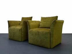 Pair of Mid Century Italian Style Split Wing Arm Lounge Side Chairs