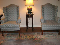 PAIR OF BEAUTIFUL CUSTOM MADE WING BACK CHAIRS - EXCELLENT CONDITION