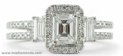 Emerald Halo Diamond Engagement Ring 18k Yellow Gold Baguette Channel Set 1.9ct
