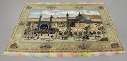 MAGNIFICENT ISFAHAN SCENE SILK AND WOOL RUG W GOLD THREADS AND RAINBOW COLORED