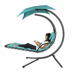 Chaise Lounge Outdoor Hanging Chair Air Porch Swing Arc Hammock Canopy Cushion