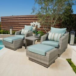 5-piece Patio Set Club Chair Ottoman Side Table Wicker Outdoor Party Bliss Blue