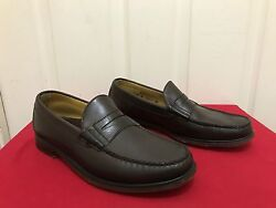 Men's Classic Sebago Slip On Brown Leather Penny Loafer Shoes Size 9