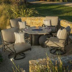 Fire Pit Table Set 5 Piece Dining Outdoor Swivel Rocking Lounge Cushioned Chairs