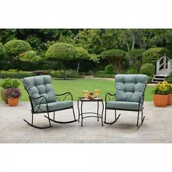 3-Piece Rocking Chair Bistro Set Garden Outdoors Metal Frame Mesh Table Teal