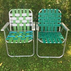 Lot: 2 Vintage Aluminum Frame Woven Webbed Folding Metal Lawn Chairs Green Multi