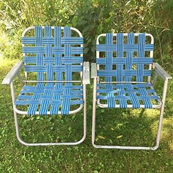 Lot: 2 Vintage Aluminum Frame Woven Webbed Folding Metal Lawn Chairs Blue White