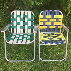Lot: 2 Vintage Aluminum Frame Woven Webbed Folding Metal Lawn Chairs Multi Color